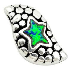925 sterling silver green australian opal (lab) fancy pendant a74049 c24362