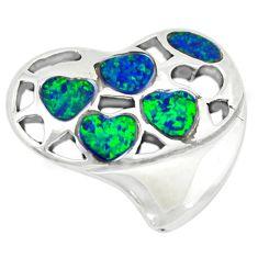 925 sterling silver green australian opal (lab) heart pendant jewelry c24283