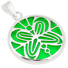 925 sterling silver green bling topaz (lab) round pendant jewelry c23249