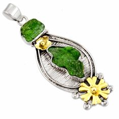 Clearance Sale- 925 sterling silver 15.64cts green chrome diopside rough 14k gold pendant d39171