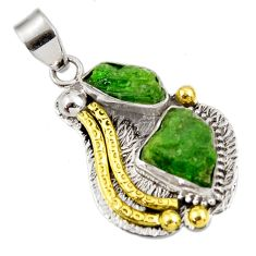 925 sterling silver 13.84cts green chrome diopside rough 14k gold pendant d39175