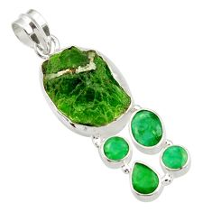 Clearance Sale- 925 sterling silver 21.18cts green chrome diopside rough emerald pendant d43504