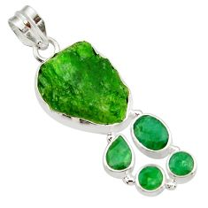 Clearance Sale- 925 sterling silver 17.95cts green chrome diopside rough emerald pendant d43508
