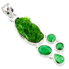 Clearance Sale- 925 sterling silver 20.65cts green chrome diopside rough emerald pendant d43511