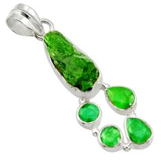 Clearance Sale- 925 sterling silver 16.54cts green chrome diopside rough emerald pendant d43517