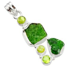 Clearance Sale- 925 sterling silver 18.46cts green chrome diopside rough peridot pendant d43771
