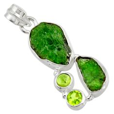 Clearance Sale- 925 sterling silver 15.85cts green chrome diopside rough peridot pendant d43811