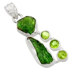 Clearance Sale- 925 sterling silver 16.54cts green chrome diopside rough peridot pendant d43813