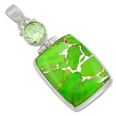 925 sterling silver 24.00cts green copper turquoise amethyst pendant d41717