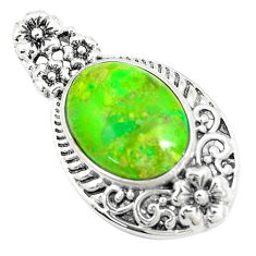 925 sterling silver 6.82cts green copper turquoise oval pendant jewelry c10538
