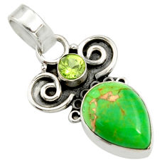 925 sterling silver 7.17cts green copper turquoise pear peridot pendant r24968