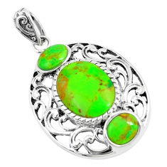 7.07cts green copper turquoise 925 sterling silver pendant jewelry c10820