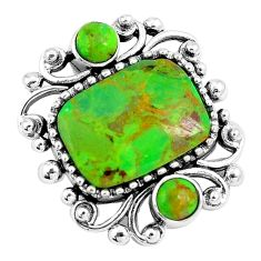 925 sterling silver 6.31cts green copper turquoise pendant jewelry c10842
