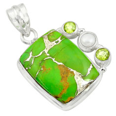 Clearance Sale- 925 sterling silver 18.94cts green copper turquoise peridot pearl pendant d41703