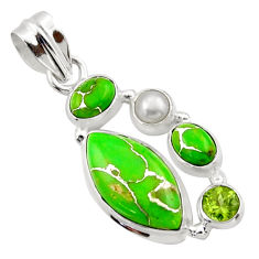 925 sterling silver 14.05cts green copper turquoise peridot pearl pendant r40140