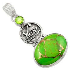 925 sterling silver 16.06cts green copper turquoise peridot pendant d41688