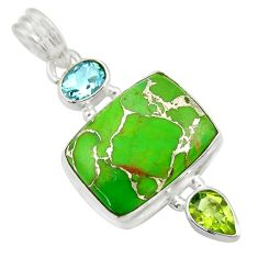 925 sterling silver 14.40cts green copper turquoise peridot topaz pendant d41707