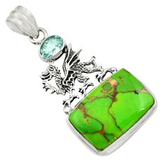 Clearance Sale- 925 sterling silver 18.47cts green copper turquoise topaz dragon pendant d41692