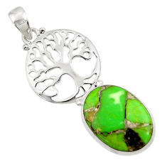 Clearance Sale- 925 sterling silver 16.70cts green copper turquoise tree of life pendant d44950