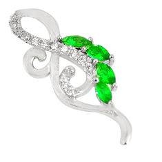 925 sterling silver 1.08cts green emerald (lab) topaz pendant jewelry c23499