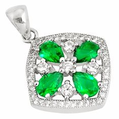 925 sterling silver 4.53cts green emerald (lab) topaz pendant jewelry c23509