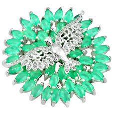 925 sterling silver green emerald quartz topaz birds pendant jewelry c22838