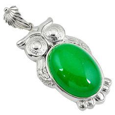 925 sterling silver green jade oval shape owl pendant jewelry c22576