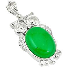 925 sterling silver green jade oval shape owl pendant jewelry c22580