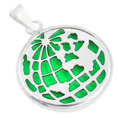 925 sterling silver 12.22cts green peridot quartz round pendant jewelry c23253