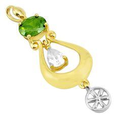 925 sterling silver 5.36cts green peridot quartz topaz pendant jewelry c19050