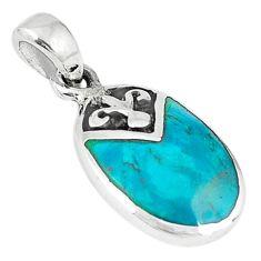 Green turquoise tibetan enamel 925 silver pendant jewelry c10984