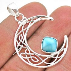 925 sterling silver 3.13cts half moon natural blue larimar pendant t43284