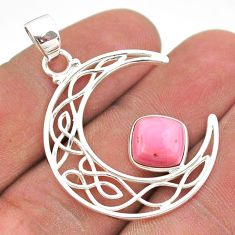925 sterling silver 3.10cts half moon natural pink opal pendant jewelry t43289