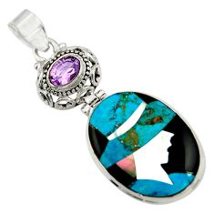 925 sterling silver lady cameo natural blue chrysocolla amethyst pendant r26448