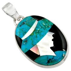 925 sterling silver lady cameo natural blue chrysocolla onyx oval pendant r26451