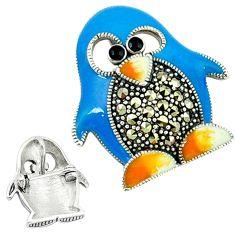 925 sterling silver marcasite enamel brooch penguin charm pendant c18895
