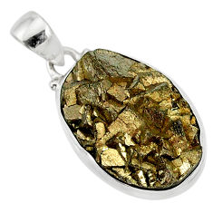 925 sterling silver 18.31cts marcasite pyrite druzy oval handmade pendant r85844