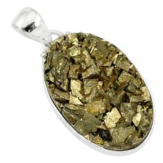 925 sterling silver 20.07cts marcasite pyrite druzy oval handmade pendant r85866