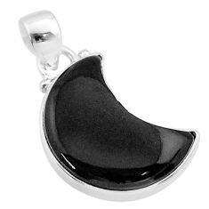 925 sterling silver 10.30cts moon natural black onyx pendant jewelry t45660