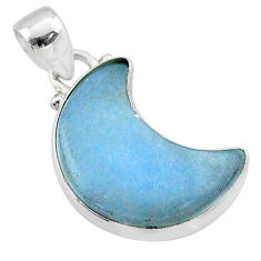 925 sterling silver 8.87cts moon natural blue angelite handmade pendant t45674