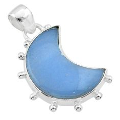 925 sterling silver 9.86cts moon natural blue angelite pendant t45735
