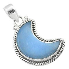 925 sterling silver 11.64cts moon natural blue angelite pendant t45770