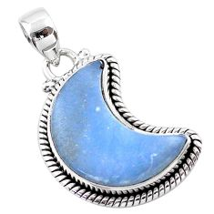 925 sterling silver 12.03cts moon natural blue angelite pendant t45838