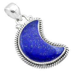 925 sterling silver 9.86cts moon natural blue lapis lazuli pendant t45779