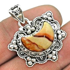 925 sterling silver 5.52cts moon natural brown mookaite pendant jewelry t56236
