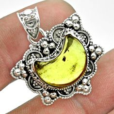 925 sterling silver 5.79cts moon natural lemon topaz pendant jewelry t56226