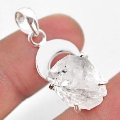 925 sterling silver 6.05cts moon natural white herkimer diamond pendant t49074