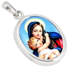 925 sterling silver 9.34cts mother baby love cameo oval pendant jewelry c26111