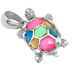 925 sterling silver multi color blister pearl enamel turtle pendant c22757