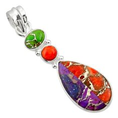 925 sterling silver 10.20cts multi color copper turquoise pendant jewelry d44955